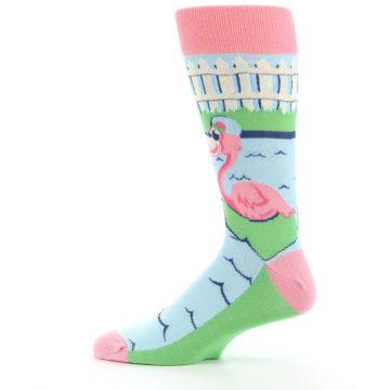 Image of Pink Blue Flamingle Flamingo Men's Dress Socks (side-2-12)