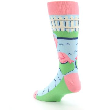 Image of Pink Blue Flamingle Flamingo Men's Dress Socks (side-2-back-15)