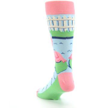 Image of Pink Blue Flamingle Flamingo Men's Dress Socks (side-2-back-16)