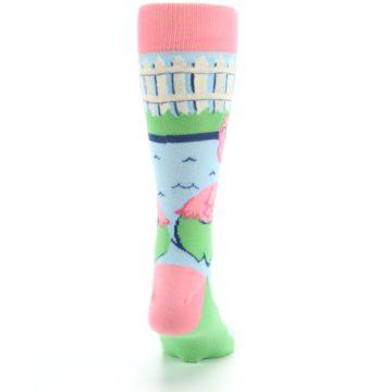 Image of Pink Blue Flamingle Flamingo Men's Dress Socks (back-19)