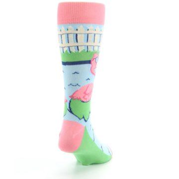 Image of Pink Blue Flamingle Flamingo Men's Dress Socks (side-1-back-20)