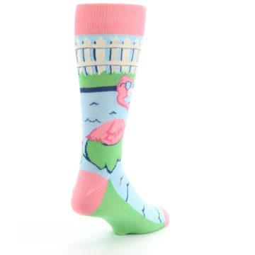 Image of Pink Blue Flamingle Flamingo Men's Dress Socks (side-1-back-21)