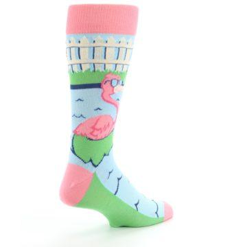 Image of Pink Blue Flamingle Flamingo Men's Dress Socks (side-1-back-22)