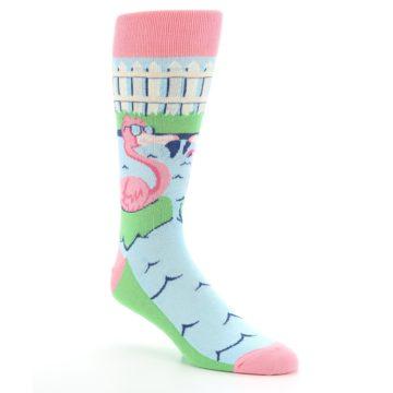 Image of Pink Blue Flamingle Flamingo Men's Dress Socks (side-1-27)