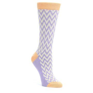 Purple-Cream-Chevron-Jacquard-Womens-Dress-Socks-Statement-Sockwear