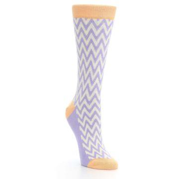 Image of Purple Cream Chevron Jacquard Women's Dress Socks (side-1-front-02)