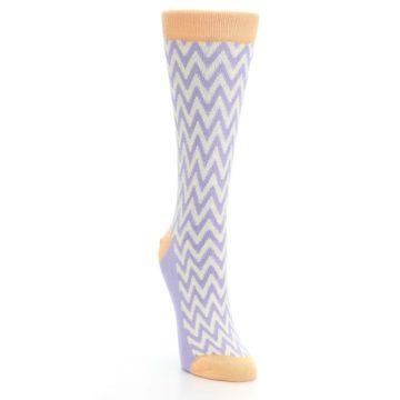 Image of Purple Cream Chevron Jacquard Women's Dress Socks (side-1-front-03)