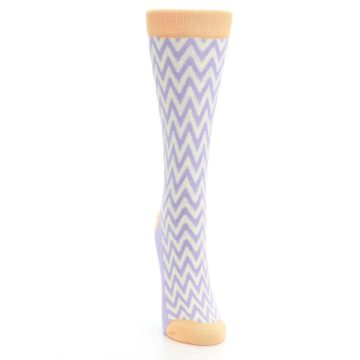 Image of Purple Cream Chevron Jacquard Women's Dress Socks (front-04)