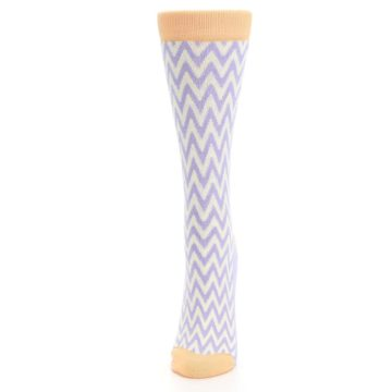 Image of Purple Cream Chevron Jacquard Women's Dress Socks (side-2-front-06)