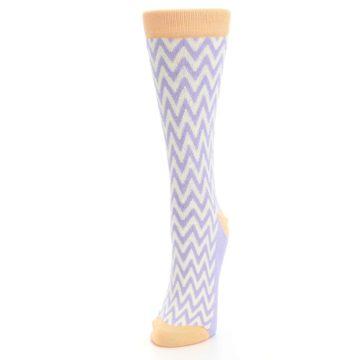 Image of Purple Cream Chevron Jacquard Women's Dress Socks (side-2-front-07)