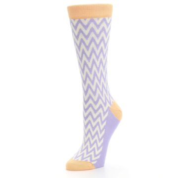 Image of Purple Cream Chevron Jacquard Women's Dress Socks (side-2-09)