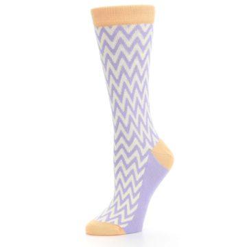 Image of Purple Cream Chevron Jacquard Women's Dress Socks (side-2-10)