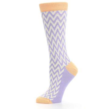 Image of Purple Cream Chevron Jacquard Women's Dress Socks (side-2-11)