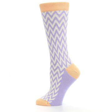 Image of Purple Cream Chevron Jacquard Women's Dress Socks (side-2-12)