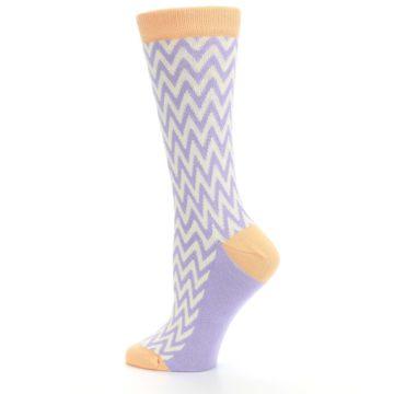 Image of Purple Cream Chevron Jacquard Women's Dress Socks (side-2-13)
