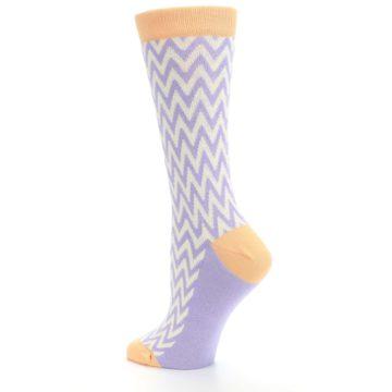 Image of Purple Cream Chevron Jacquard Women's Dress Socks (side-2-back-14)