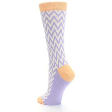 Image of Purple Cream Chevron Jacquard Women's Dress Socks (side-2-back-15)
