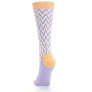 Image of Purple Cream Chevron Jacquard Women's Dress Socks (back-17)