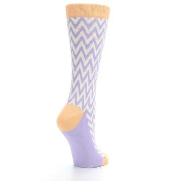 Image of Purple Cream Chevron Jacquard Women's Dress Socks (side-1-back-22)