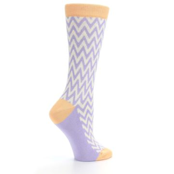 Image of Purple Cream Chevron Jacquard Women's Dress Socks (side-1-24)