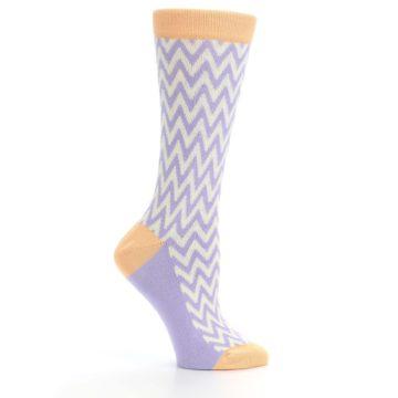 Image of Purple Cream Chevron Jacquard Women's Dress Socks (side-1-25)