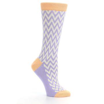 Image of Purple Cream Chevron Jacquard Women's Dress Socks (side-1-26)