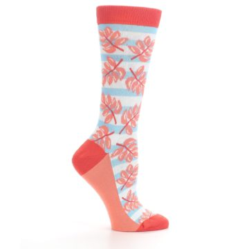 Image of Red Coral Blue Palm Branches Women's Dress Socks (side-1-25)