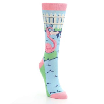 Image of Pink Blue Flamingle Flamingo Women's Dress Socks (side-1-front-02)