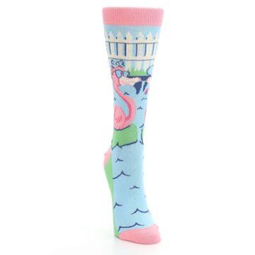 Image of Pink Blue Flamingle Flamingo Women's Dress Socks (side-1-front-03)