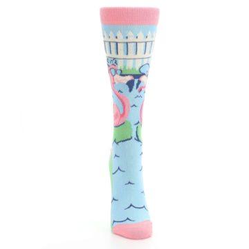 Image of Pink Blue Flamingle Flamingo Women's Dress Socks (front-04)