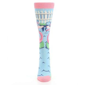 Image of Pink Blue Flamingle Flamingo Women's Dress Socks (front-05)
