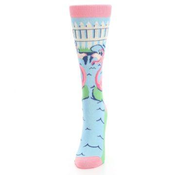 Image of Pink Blue Flamingle Flamingo Women's Dress Socks (side-2-front-06)
