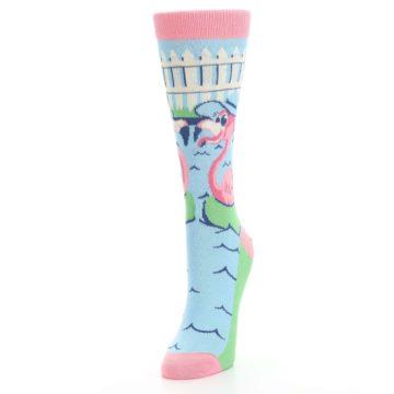 Image of Pink Blue Flamingle Flamingo Women's Dress Socks (side-2-front-07)