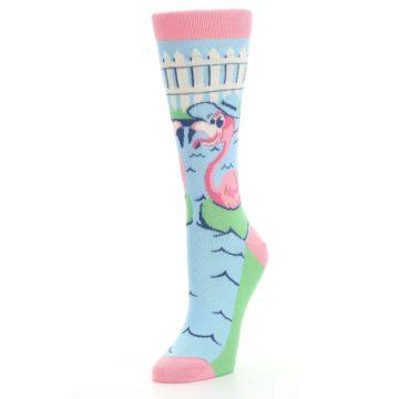 Image of Pink Blue Flamingle Flamingo Women's Dress Socks (side-2-front-08)