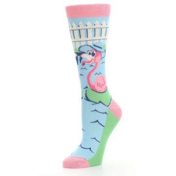 Image of Pink Blue Flamingle Flamingo Women's Dress Socks (side-2-09)
