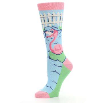 Image of Pink Blue Flamingle Flamingo Women's Dress Socks (side-2-10)