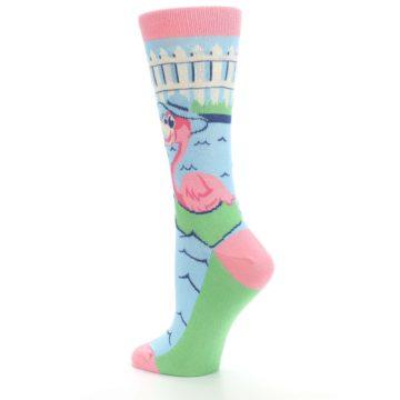 Image of Pink Blue Flamingle Flamingo Women's Dress Socks (side-2-back-14)