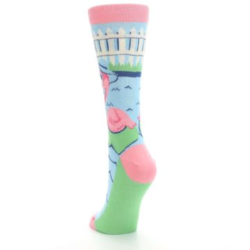 Image of Pink Blue Flamingle Flamingo Women's Dress Socks (side-2-back-16)