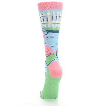 Image of Pink Blue Flamingle Flamingo Women's Dress Socks (back-17)
