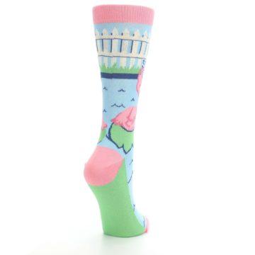 Image of Pink Blue Flamingle Flamingo Women's Dress Socks (side-1-back-21)