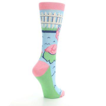 Image of Pink Blue Flamingle Flamingo Women's Dress Socks (side-1-back-22)
