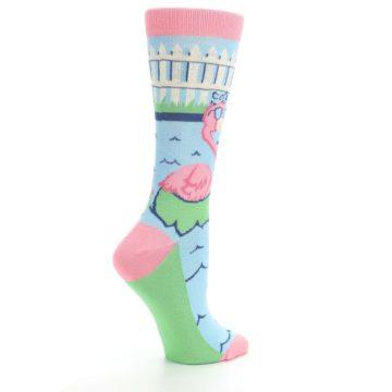 Image of Pink Blue Flamingle Flamingo Women's Dress Socks (side-1-23)
