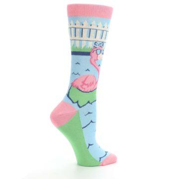 Image of Pink Blue Flamingle Flamingo Women's Dress Socks (side-1-24)