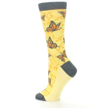Image of Yellow Orange Butterfly Women's Dress Socks (side-2-13)
