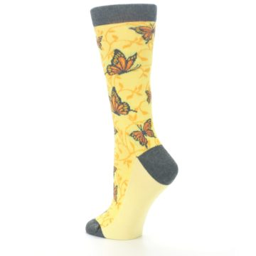Image of Yellow Orange Butterfly Women's Dress Socks (side-2-back-14)