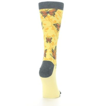Image of Yellow Orange Butterfly Women's Dress Socks (side-1-back-20)