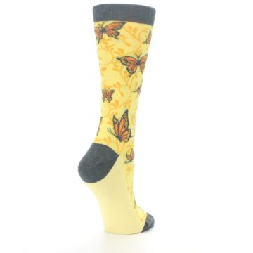 Image of Yellow Orange Butterfly Women's Dress Socks (side-1-back-22)