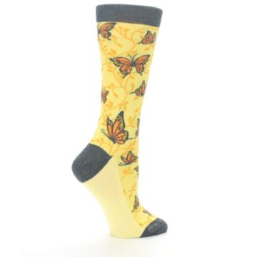 Image of Yellow Orange Butterfly Women's Dress Socks (side-1-24)