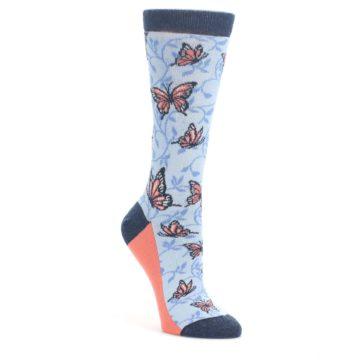 Blue-Coral-Butterfly-Womens-Dress-Socks-Statement-Sockwear