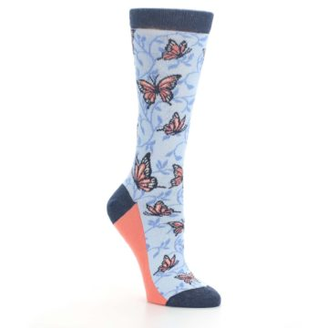 Image of Blue Coral Butterfly Women's Dress Socks (side-1-27)